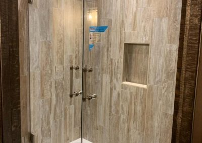 French doors on tub with Concerto hardware
